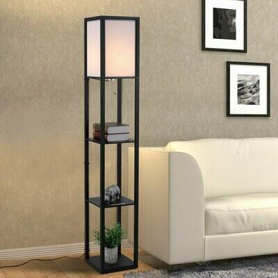 HOMCOM® Stehleuchte mit Regalen Innenbeleuchte Stehlampe E27 bis 40W Holz Schwarz 26 x 26 x 160 cm