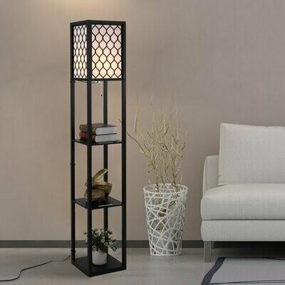 HOMCOM® Stehleuchte Stehlampe mit Regalen Innenbeleuchte E27 bis 40W Holz Schwarz 26 x 26 x 160 cm