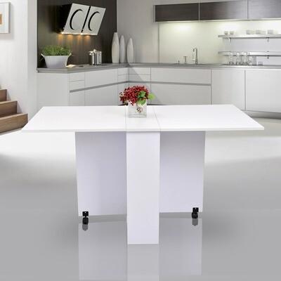 HOMCOM Wohnzimmer- und Esstisch mit Rollen   MFC   140 x 80 x 74 cm   Weiss