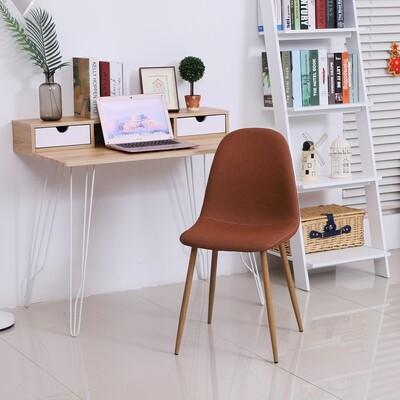 HOMCOM® 2er-Set Esszimmerstuhl Küchenstuhl mit Rückenlehne Polstersessel Metallbeine Braun