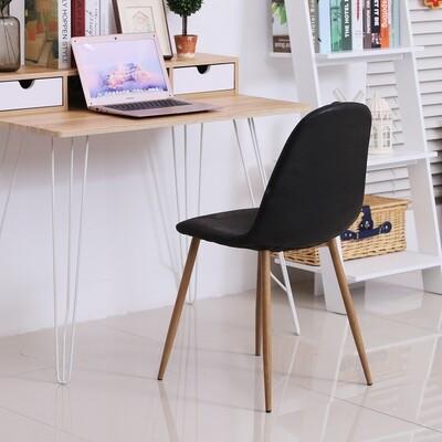 HOMCOM® 2er-Set Esszimmerstuhl Küchenstuhl mit Rückenlehne Kunstwildleder Sessel Schwarz