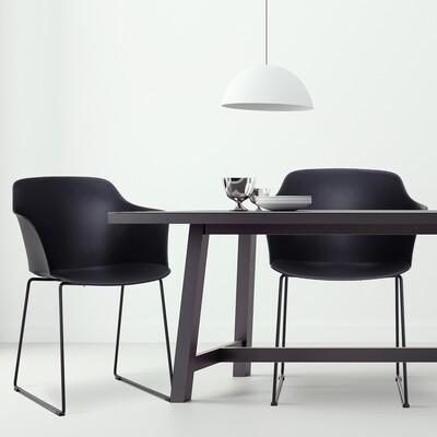 HOMCOM® Esszimmerstühle 2er-Set Essstühle Metallbeine mit Möbelgleitern PP Schwarz