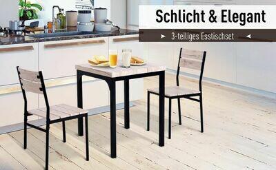 HOMCOM® 3-teilige Essgruppe Sitzgruppe Esstisch Set Holztisch mit 1 Tisch + 2 Stühlen