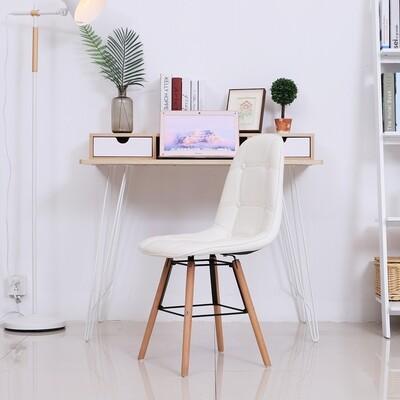 HOMCOM® 2er-Set Küchenstuhl Esszimmerstuhl mit Rückenlehne Polstersessel Kunstleder Cremeweiss