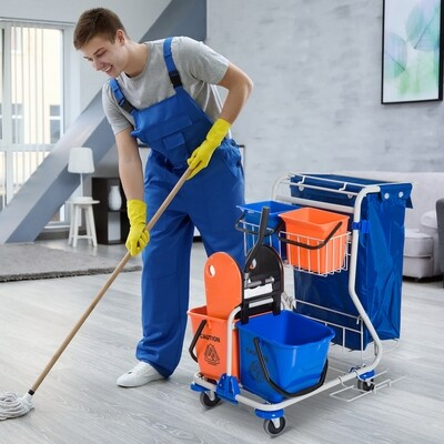 HOMCOM® Putzwagen Reinigungswagen 4 Fahreimer mit Rollen Blau-Orange
