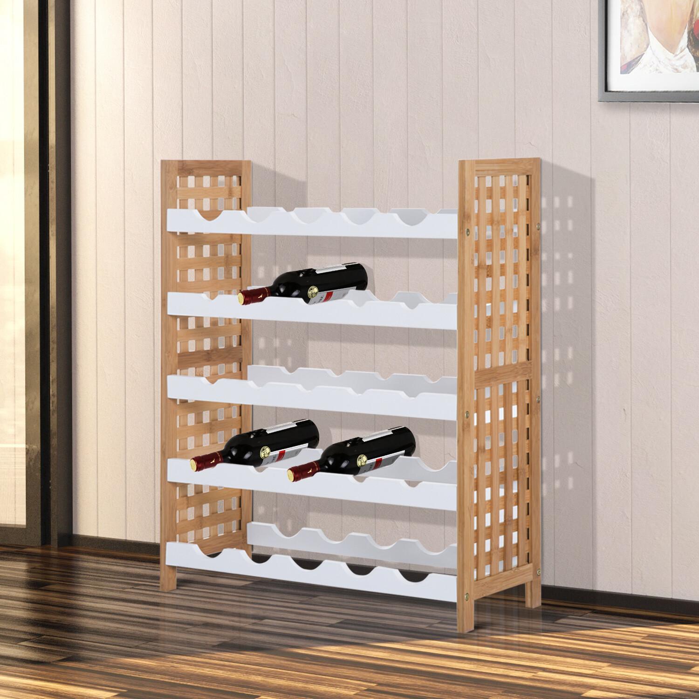 HOMCOM® Weinregal für 25 Flaschen Bambus Weiss