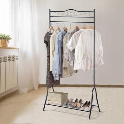 HOMCOM® Kleiderständer Kleiderstange mit Schuhablage Stahl Schwarz