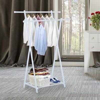 HOMCOM® Kleiderständer Garderobenständer Metall Weiss
