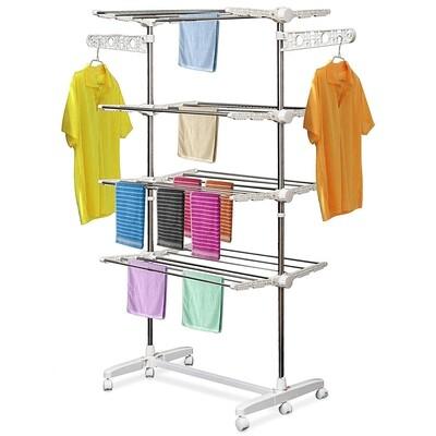 HOMCOM® Mobiler Wäscheständer | Wäscheturm mit 4 Ebenen | Klappbar | (80-142) x 55 x 172 cm | Weiss, Silber