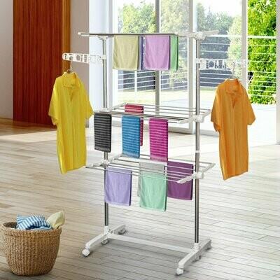 HOMCOM® Mobiler Wäscheständer | 3 Ebenen | Höhenverstellbar | (80-142) x 55 x 152 cm | Weiß, Silber