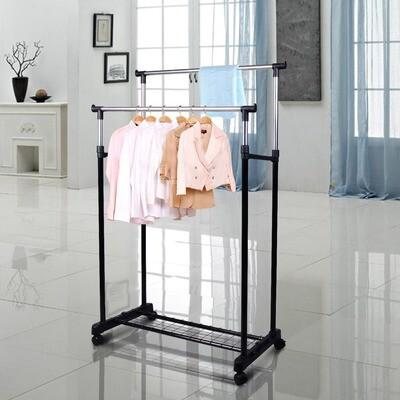 HOMCOM® Kleiderständer mit 2 Stangen Garderobenständer rollbar höhenverstellbar