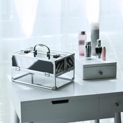 HOMCOM® Schmuckschatulle Schmuckkästchen Schmuckkasten Aluminium Acryl Silber