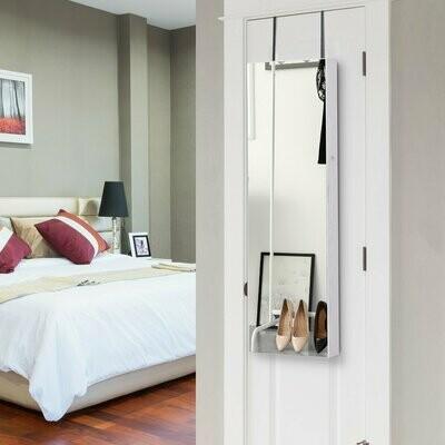 HOMCOM® Schmuckschrank Spiegelschrank Wandschrank mit LED Wand-/Türmontage MDF Weiss