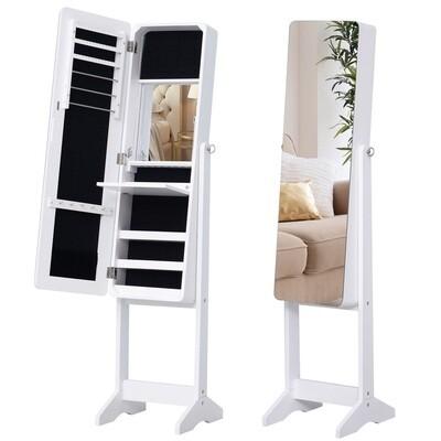 HOMCOM® Spiegelschrank LED Schmuckschrank mit Innenspiegel klappbare Ablage Standspiegel Weiss