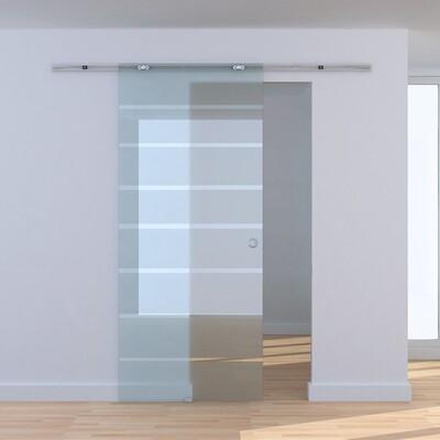 HOMCOM® Teilsatinierte Glasschiebetür | Zimmertür | Aluminium, Sicherheitsglas | 205 x 77.5 cm
