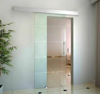 HOMCOM Glasschiebetür satiniert | Glas, Edelstahl, Aluminium | 205 x 102,5 cm | Silber und Transparent