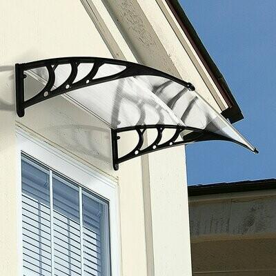 Outsunny® Vordach Haustürvordach 120 x 80 cm Pultvordach Überdachung Polycarbonat Polycarbonat Braun