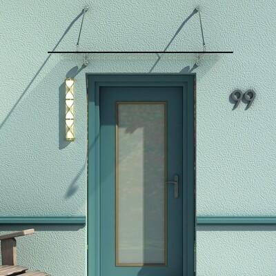 HOMCOM® Glas-Vordach | Türvordach | Sicherheitsglas, Edelstahl, Klarglas | 150 x 90 x 1,2 cm