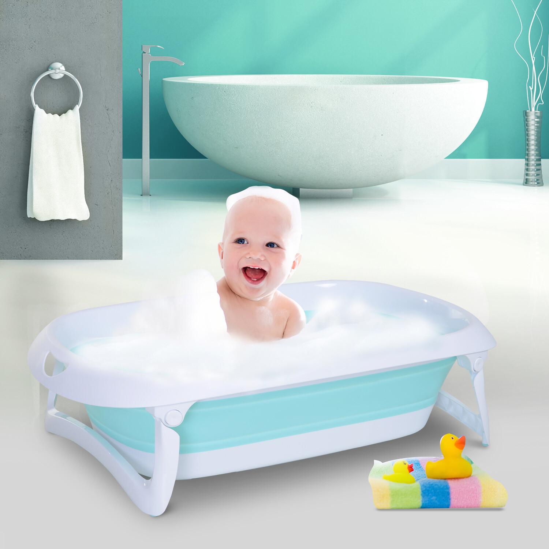 HOMCOM® Badewanne für Babys Ergonomische Babywanne Anti-Rutsch klappbar Kunststoff Grün 80 x 48 x 21 cm