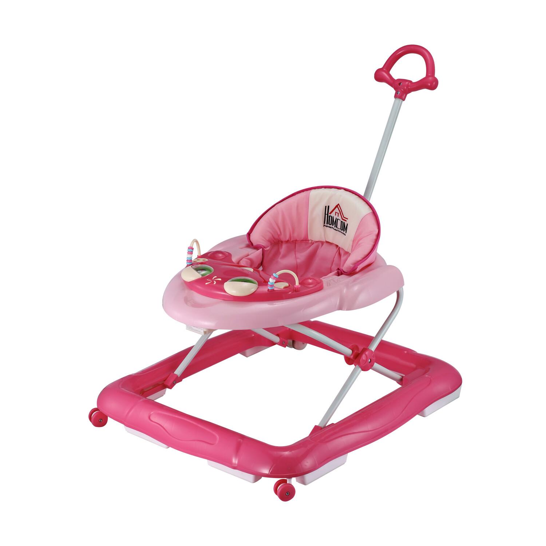 HOMCOM® Laufhilfe Gehhilfe Klappbar Höhenverstellbar rosa