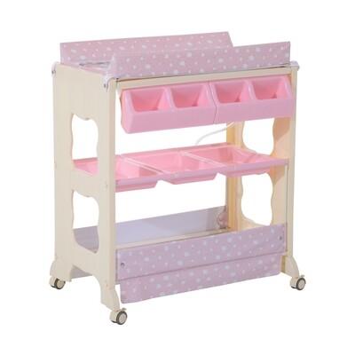 HOMCOM® Baby Wickeltisch mit Badewanne Mobil Rosa