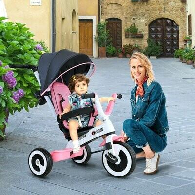 HOMCOM® 4 in 1 Kinderdreirad Kinderwagen mit Sonnendach, Schiebestange rosa