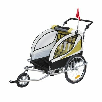 HOMCOM® Kinderanhänger 2 in 1 Fahrradanhänger Velo-Anhänger Jogger Gelb-Schwarz