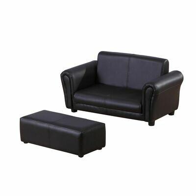 HOMCOM® Kindersofa mit Hocker Sofa Sessel Kinder Kindersessel PVC schwarz
