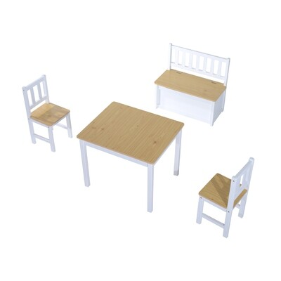 HOMCOM® 4-tlg. Kindersitzgruppe 1 x Kindertisch 2 x Kinderstuhl 1 x Kinderbank mit Truhe aus Holz