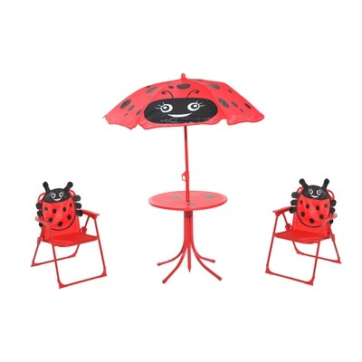 HOMCOM® 3-tlg. Kindersitzgruppe Sitzgarnitur für Kinder Kindermöbel 1 Sonnenschirm + 1 Tisch + 2 Kinderstühle klappbar Rot