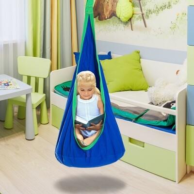 HOMCOM® Hängehöhle Kinder Schaukel mit Sitzkissen Baumwolle Blau