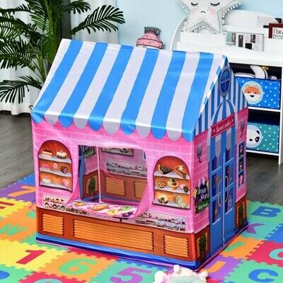 HOMCOM® Kinderspielhaus Spielzelt Bonbonhaus Tür und Verkaufsfenster 3 Jahre Rollenspiel Polyester 93 x 69 x 103 cm