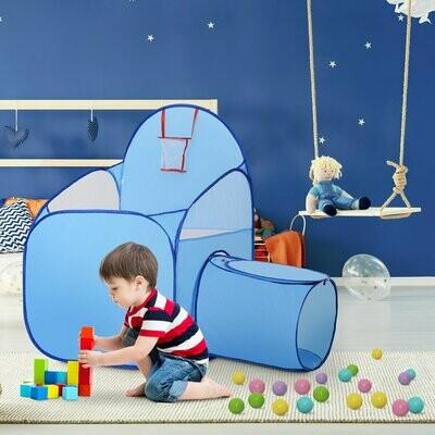 HOMCOM® Kinderspielhaus Spielzelt mit Ballkorb Tunnel Blau 123 x 73,5 x 112 cm