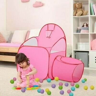 HOMCOM® Kinderspielhaus Spielzelt mit Ballkorb Tunnel rosa 123 x 73,5 x 112 cm