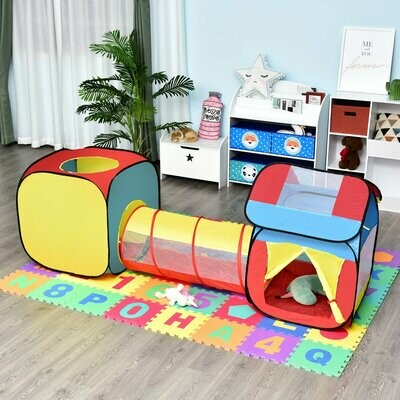 HOMCOM® Pop up Kinderspielzelt 3-teiliges Kinderzelt Babyzelt Spieltunnel Faltbar Polyester 230 x 70 x 89 cm