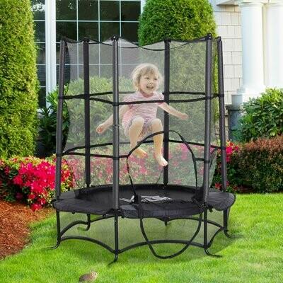 HOMCOM® Trampolin Kinder Gartentrampolin mit Sicherheitsnetz Randabdeckung gepolstert Stahl Schwarz Ø170cm bis 45kg