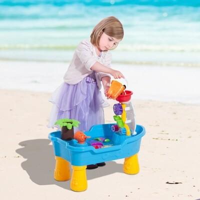 HOMCOM® Wasserspieltisch Strandspielzeug Kinder Spieltisch mit Zubehör