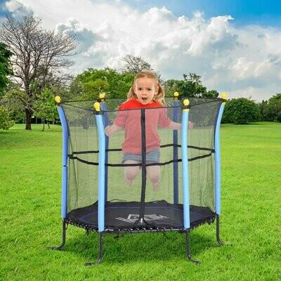 HOMCOM® Trampolin Kinder Gartentrampolin mit Sicherheitsnetz Randabdeckung Ø155cm bis 60kg