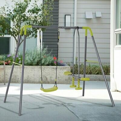 HOMCOM® Kinderschaukel Doppelschaukel Gartenschaukel Schaukelset mit Metallgestell Wippe 3–10 Jahre bis 3 Kinder