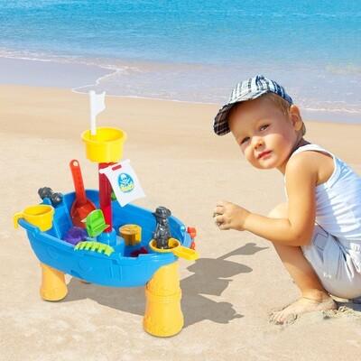HOMCOM® Spieltisch Sandkastentisch mit Zubehör Sandspielzeug (20-tlg)