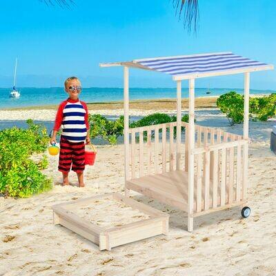 HOMCOM® Sandkasten Spielhaus Sandkiste mit Dach