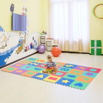 HOMCOM® Puzzlematte Spielmatte Zahlen Fraktalbild 28 Stück