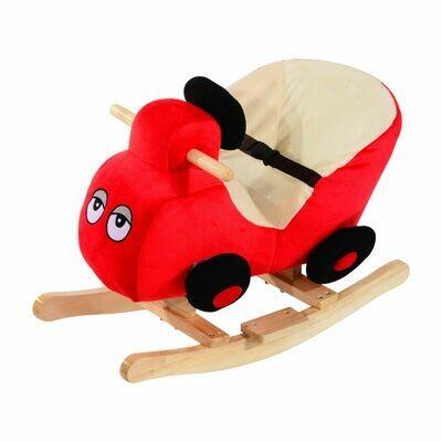 HOMCOM® Schaukelpferd Plüsch Auto Schaukeltier Lieder Spielzeug Kinder Baby Rot Auto