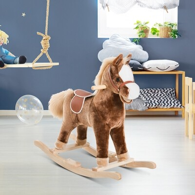 HOMCOM® Schaukelpferd Plüsch-Schaukeltier Spielzeug Braun