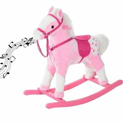 HOMCOM® Schaukelpferd Kinder Schaukeltier Geschenk für Kinder rosa