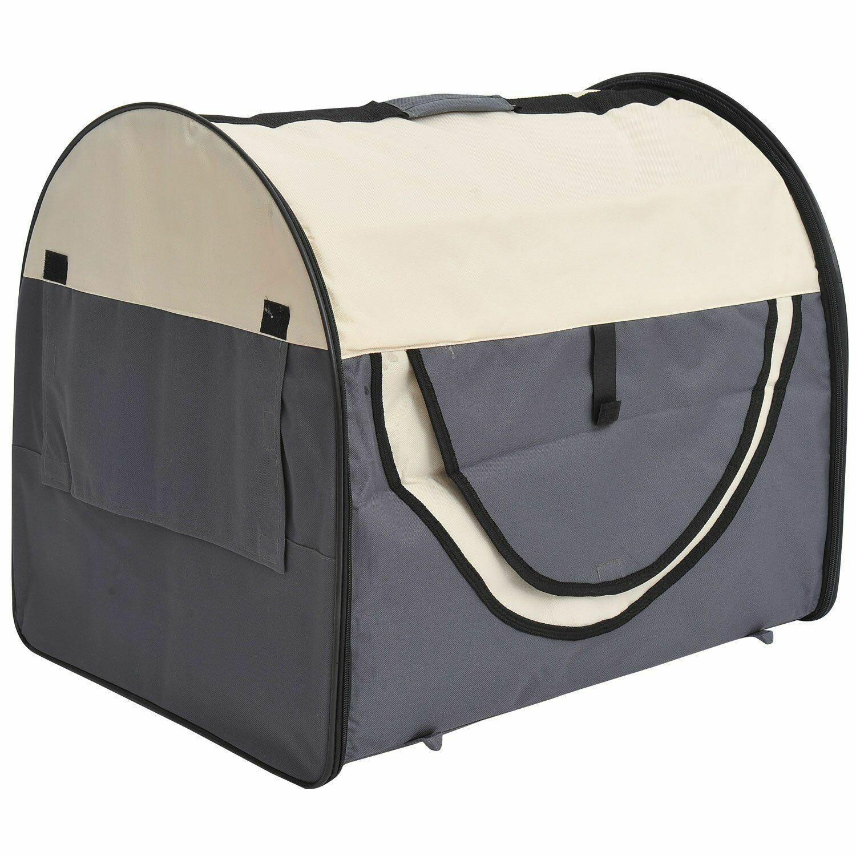 PawHut® Hundetransportbox, faltbar, Größe L - 70x51x59 cm, dunkelgrau-creme