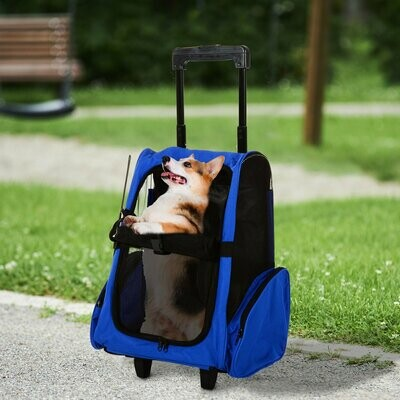 PawHut® 2in1 Hunde Trolley Tragetasche Rucksack blau