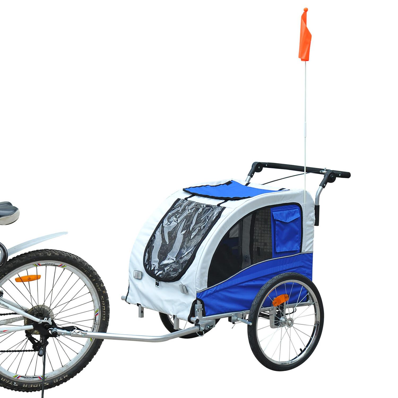 Pawhut Hundetransporter Fahrradanhänger oder Schiebewagen   600D Oxford, Stahl   130 x 90 x 110 cm   Grau, Blau