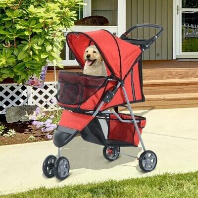 Pawhut Hundewagen | Stroller | Jogger | 99 x 45 x 86 cm | rot