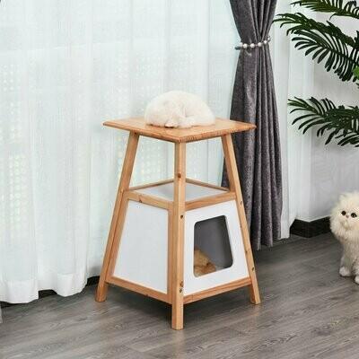 PawHut® Katzenhaus Katzenbaum Beistelltisch 2-in-1-Design Kieferholz Natur+Weiss 45 x 45 x 70 cm